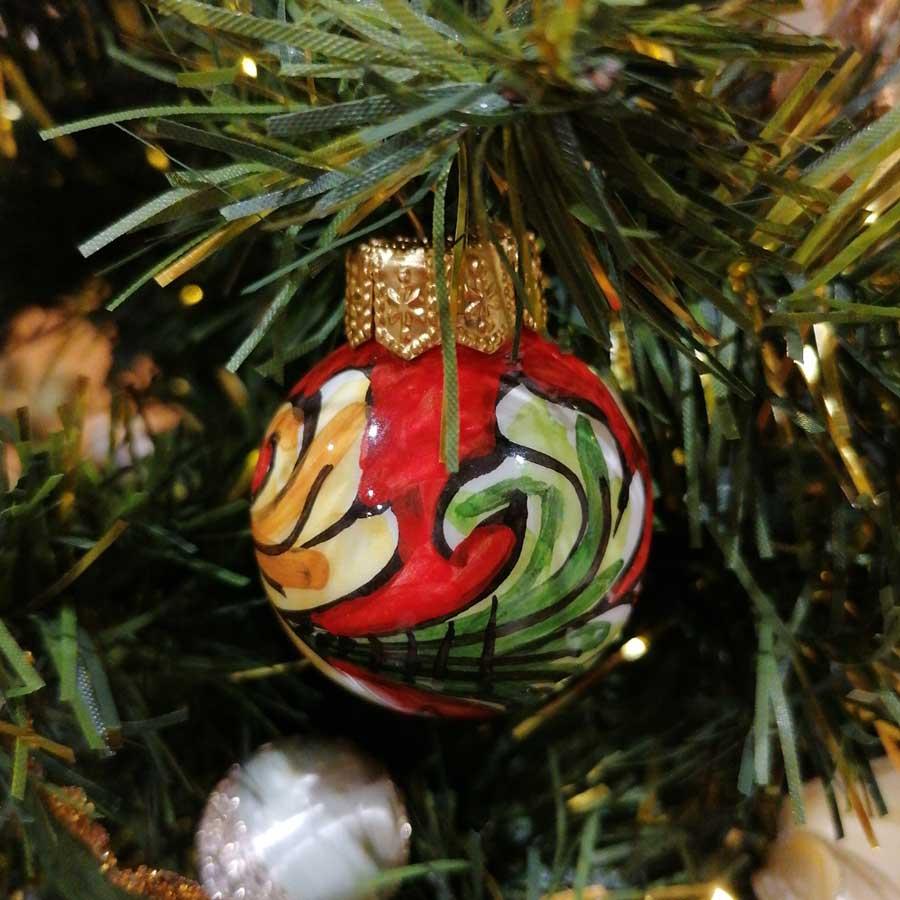 Palla Natale Piccola Ornato Rosso