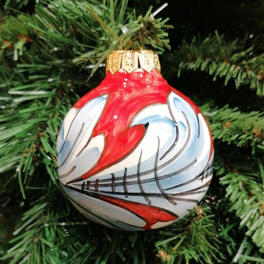 Palla Natale Grande Ornato Rosso Intenso